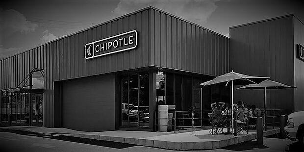 Chipotle restaurant storefront business intelligence black and white