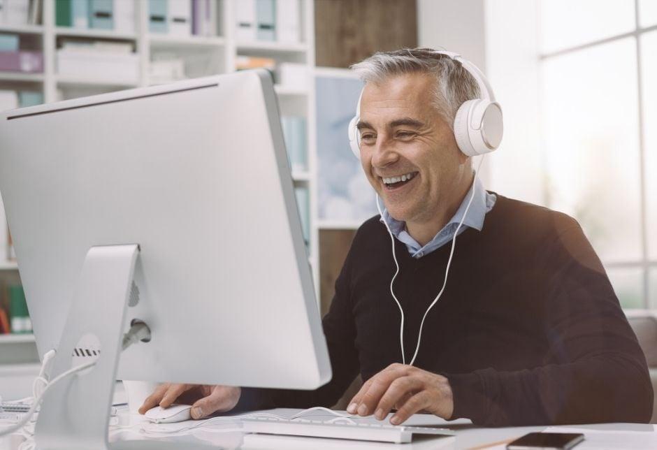 Man Watching Streaming Videos Online