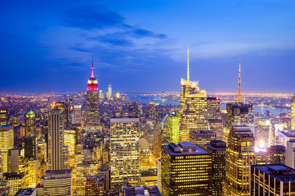 New York City, USA city skyline of midtown Manhattan.