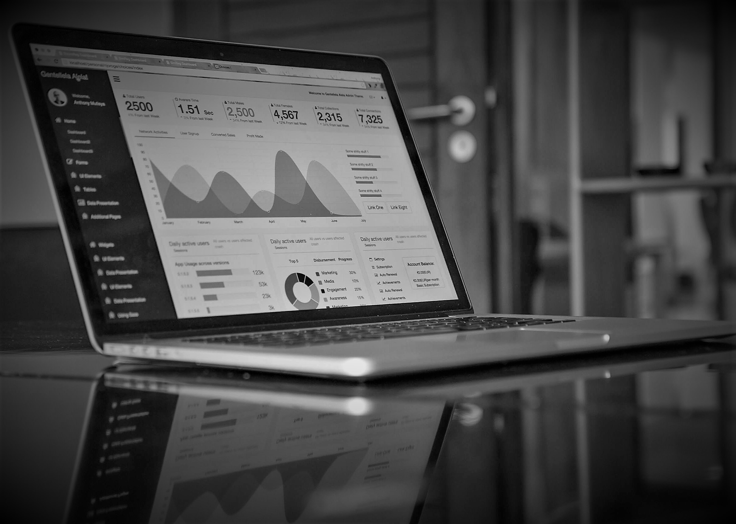 business intelligence analytics dashboard on laptop black and white